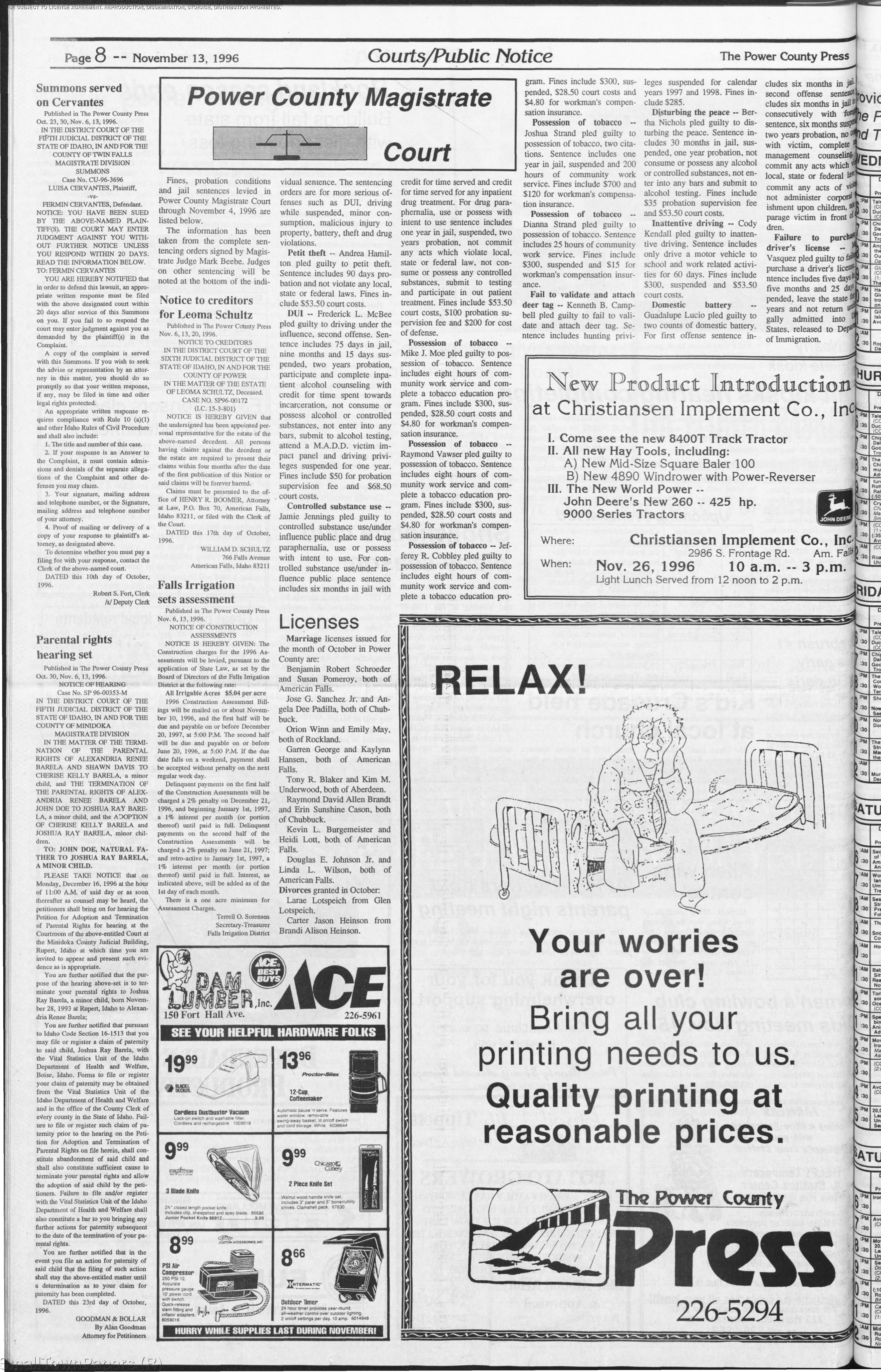 The Power County Press November 13 1996 Page 8